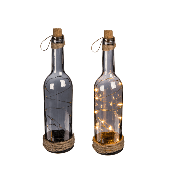 Διακοσμητικό γυάλινο μπουκάλι με θερμά φωτάκια LED