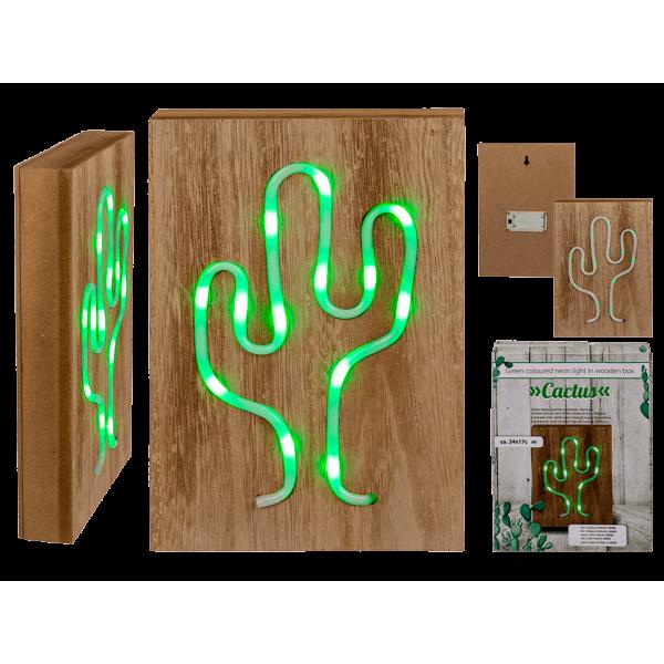 Φωτιστικό ξύλινο κάκτος με πράσινο neon light