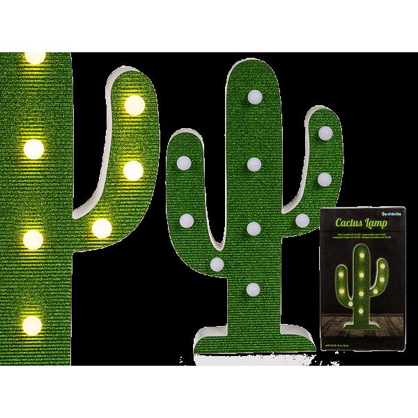 Ξύλινο Φωτιστικό Κάκτος με φώτα LED