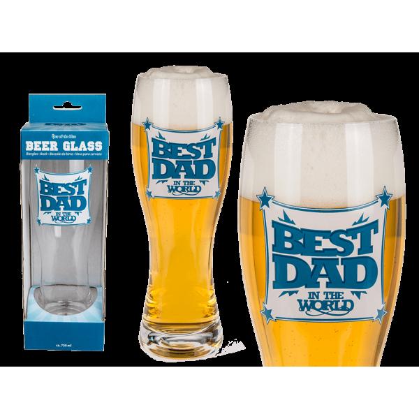 """Ποτήρι μπύρας γυάλινο """"Best Dad in the World"""""""