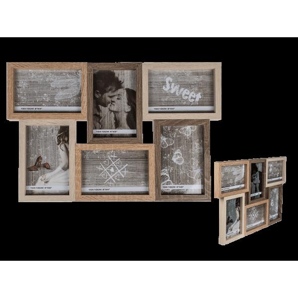 Ξύλινη πολυκορνίζα 6 φωτογραφιών