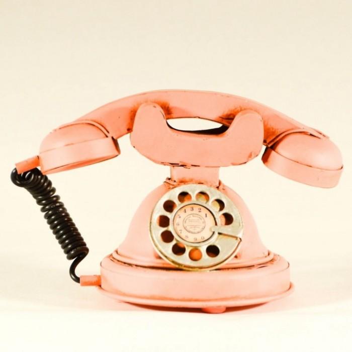 Vintage μεταλλικό διακοσμητικό ροζ τηλέφωνο