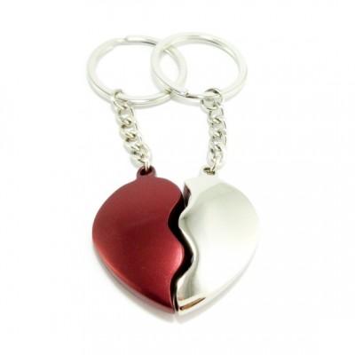 Μπρελόκ Μεταλλικό Σπασμένη Καρδιά  Ασημί-Κόκκινο