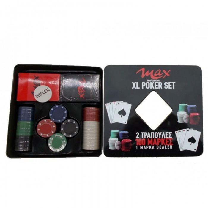 Σετ Πόκερ Τύπου Καζίνο Με 100 Μάρκες Και 2 Τράπουλες